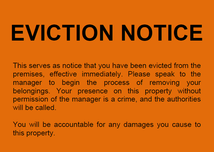 Redford property manager eviction notice